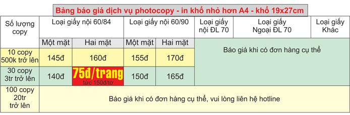 Bảng giá dịch vụ photocopy giá rẻ khổ nhỏ hơn A4