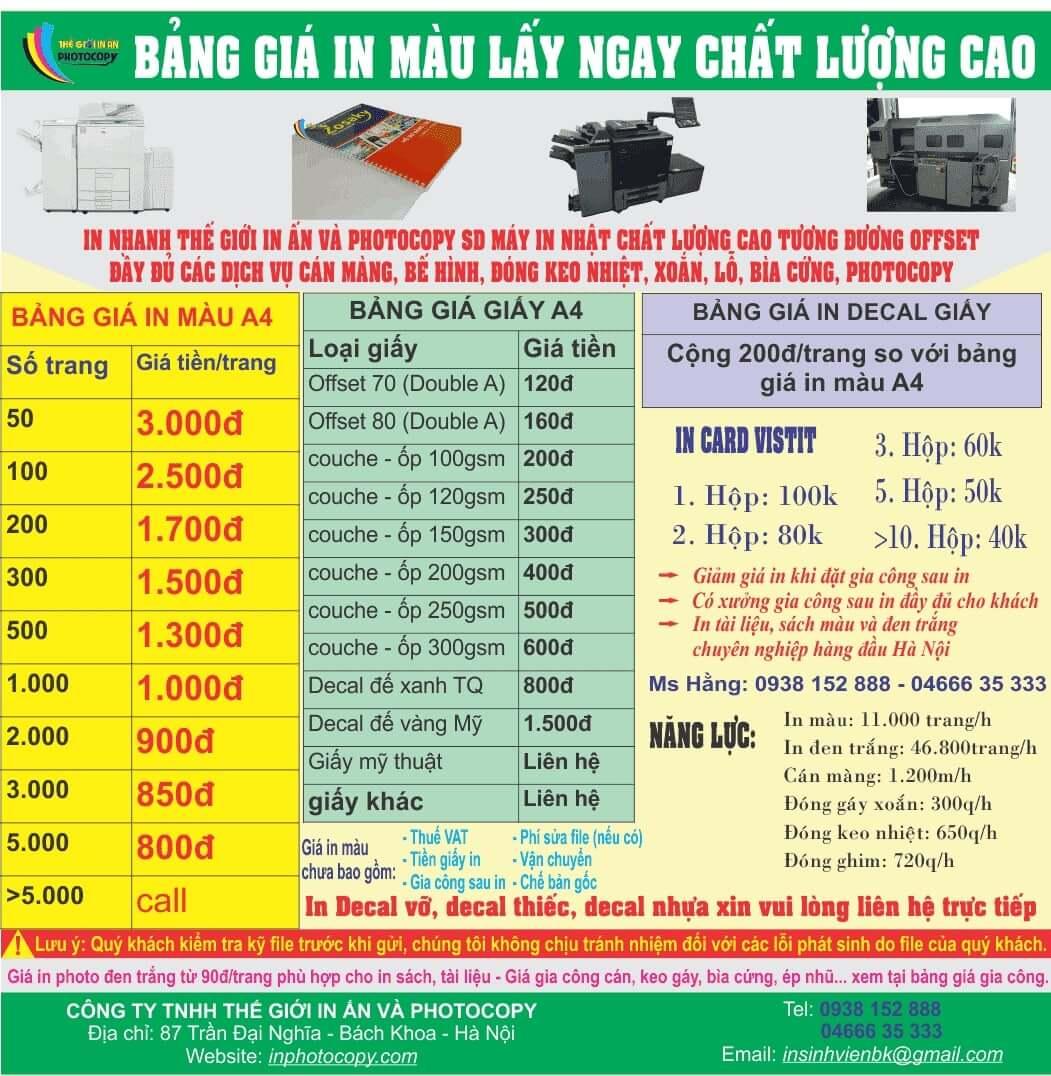 Bảng giá photo màu tại inphotocopy.com
