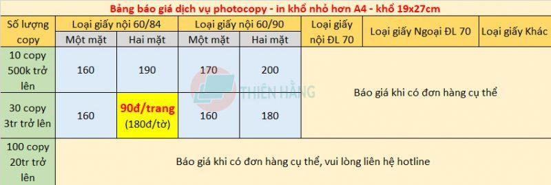 bảng giá photocopy khổ nhỏ hơn A4
