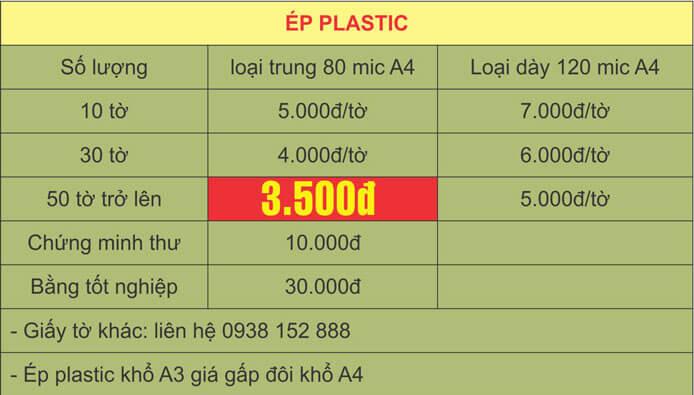 Bảng báo giá ép plastic khổ A4 giá rẻ tại Hà Nội