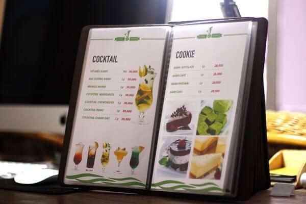 Mẫu Menu quán ăn được in với hình ảnh trực quan