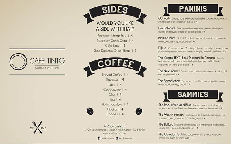 hình ảnh menu cà phê