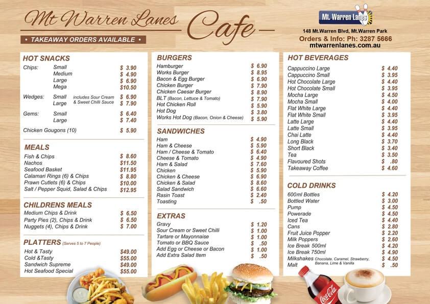 hình ảnh menu quan cafe