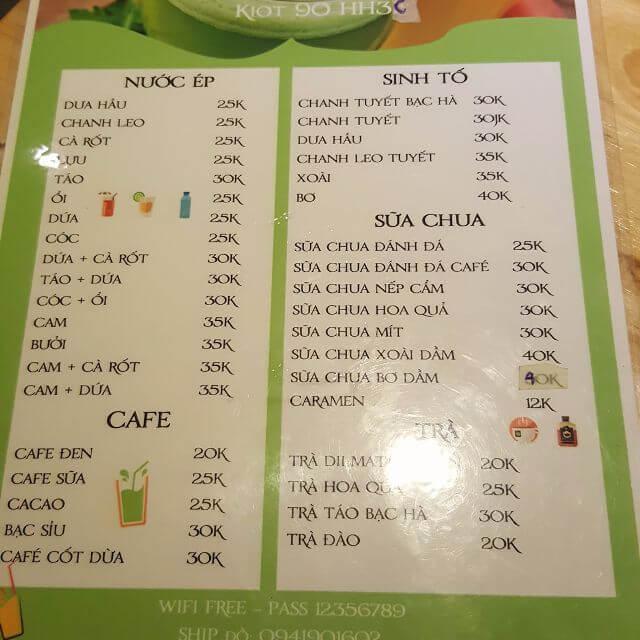 mẫu menu nu đơn giản cho quán cà phê