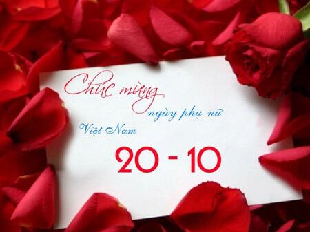Thiệp chúc mừng ngày phụ nữ Việt Nam 20/10 - Sắc màu hoa hồng