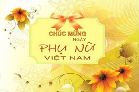 Mẫu thiệp chúc mừng ngày phụ nữ Việt Nam - Tông vàng ấm áp