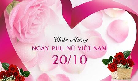 Thiệp chúc mừng 20/10 với giỏ hoa hồng và khung trái tim ngọt ngào
