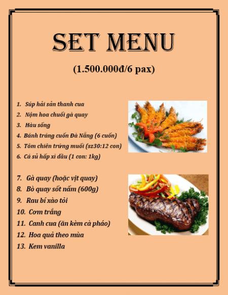 Thực đơn set menu chuyên nghiệp