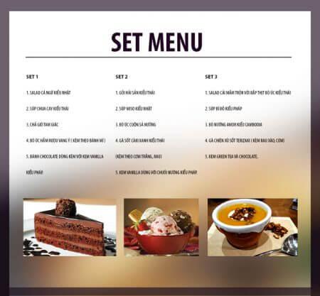 Thực đơn set menu đơn giản sáng tạo
