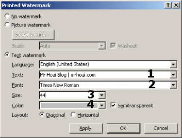 chèn watermark dạng text