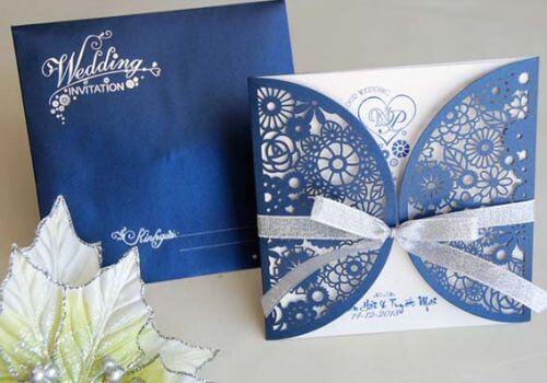 Thiệp cưới màu xanh