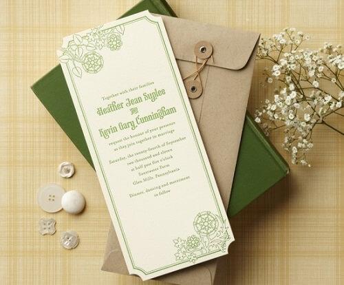 Mẫu thiệp cưới đơn giản màu xanh lá