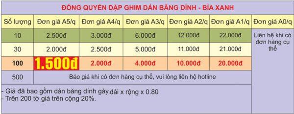 Bảng báo giá đóng quyển dập ghim tại In Thiên Hằng